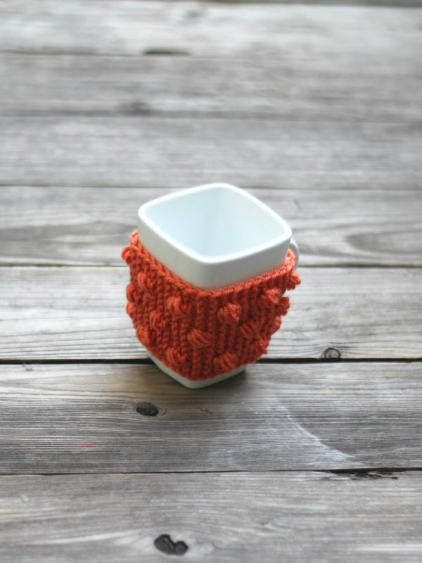 Knit mug cozy with nupps orange carrot cup cozy, bobbles cup cozy knitted cup cozy
