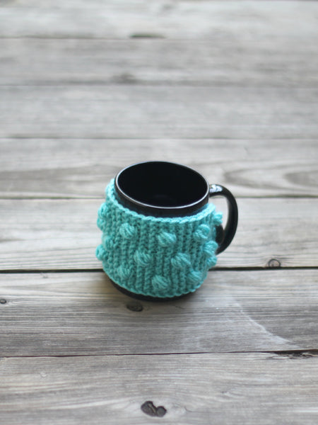 Knit pattern mug cozy with nupps, cup cozy, bobbles cup cozy DIY knitted tutorial, knitted pattern