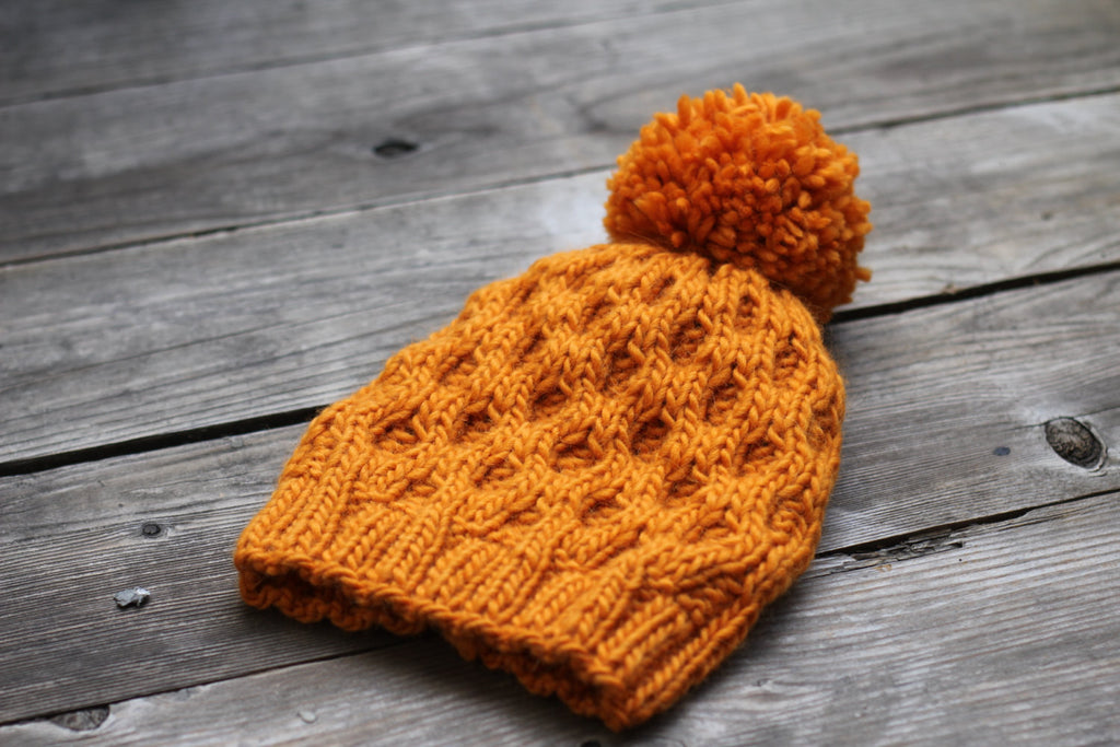 Knit Hat Pattern Honeycomb Hat Winter Pdf Kgthreads