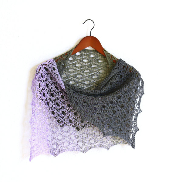 Knit lilac and grey shawl