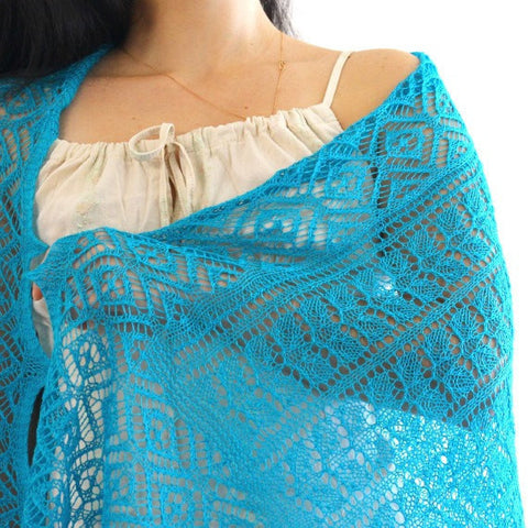 Turquoise laced stole