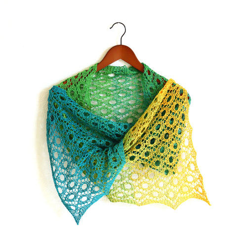 Yellow and green knit shawl