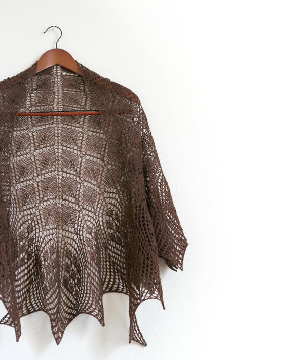 Brown lace shawl