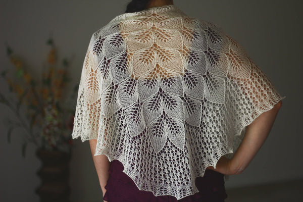 Knitted lace white shawl