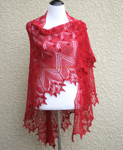 Red laced shawl