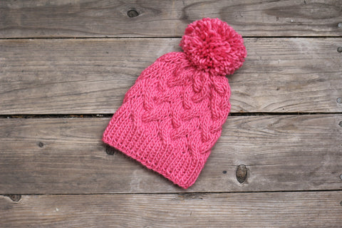 Knit cabled hat for women