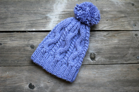 Knit hat for women in violet color