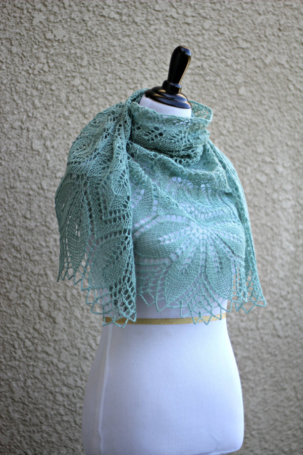 Olive green lace shawl