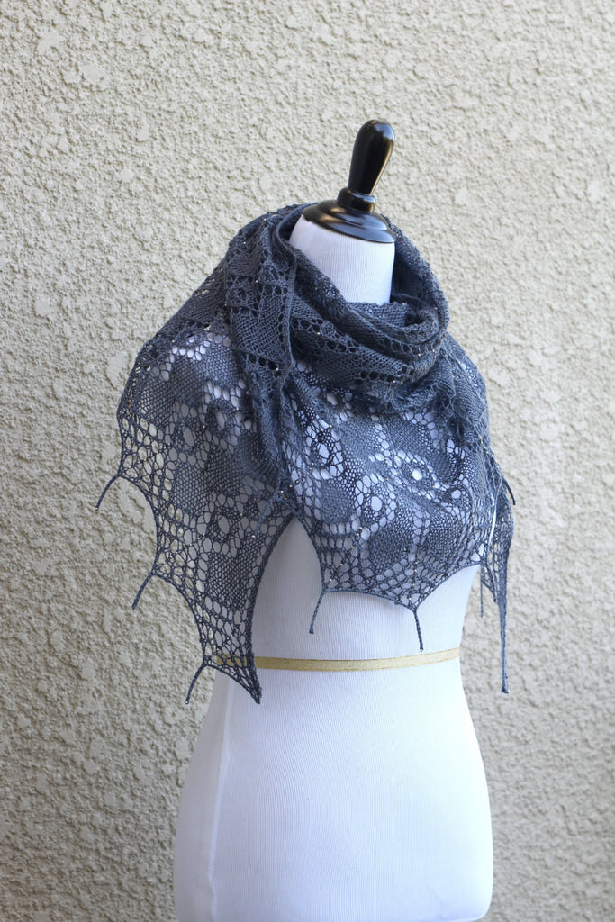 Knitting Pattern Morning Dew Shawl With Beads And Tails Kgthreads