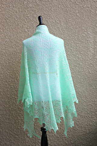 Mint green knit shawl