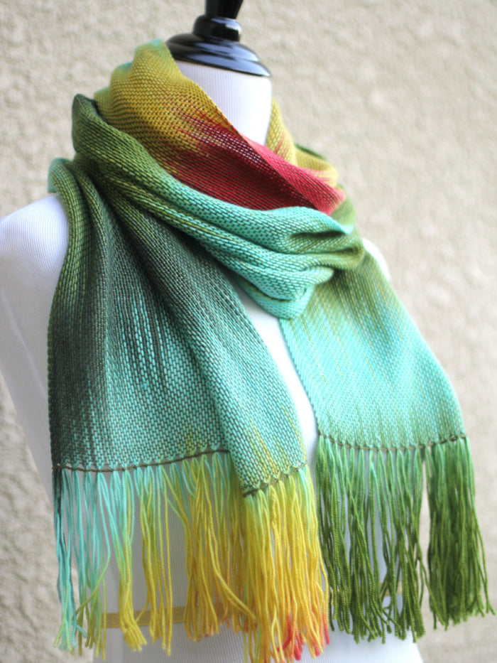 hand woven scarf in mint green and yellow colors � kgthreads