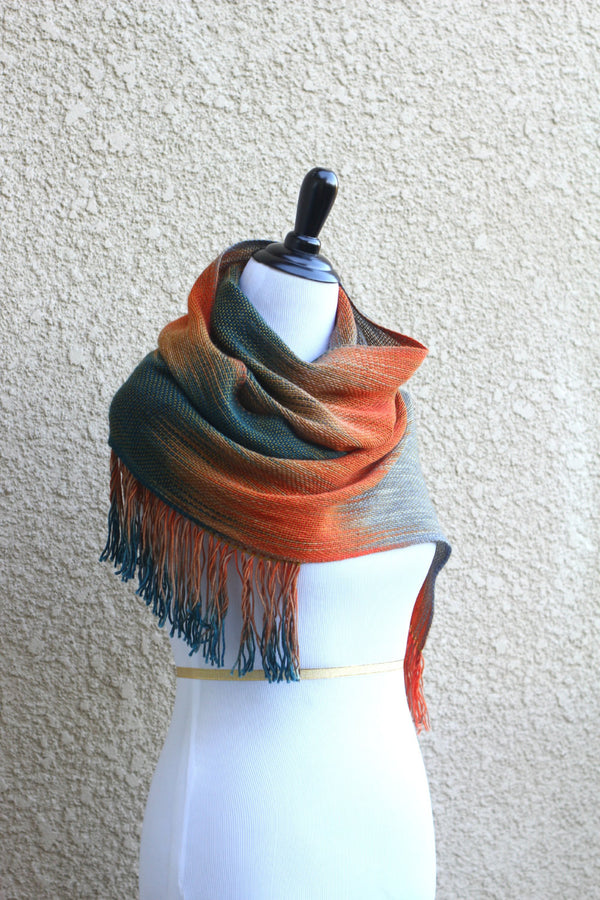 Orange and teal scarf