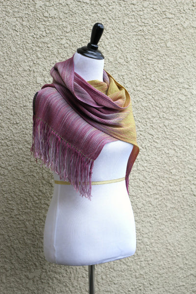 Pink and yellow woven scarf