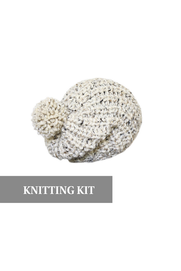 DIY knitting kit for a knit hat, chunky beanie hat, knitting tutorial, Octavia hat PDF