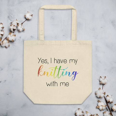 Eco Tote Bag, project bag - Yes, I have my knitting with me