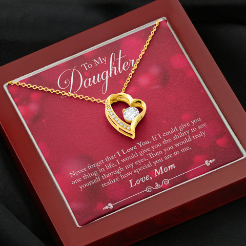 Valentines Mom to Daughter Heart Necklace