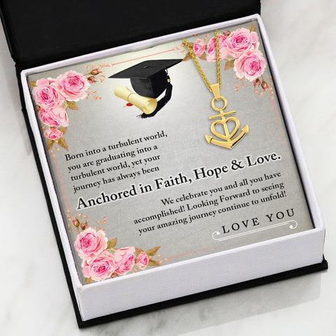 Graduate ANCHORED IN FAITH HOPE & LOVE Necklace Gold
