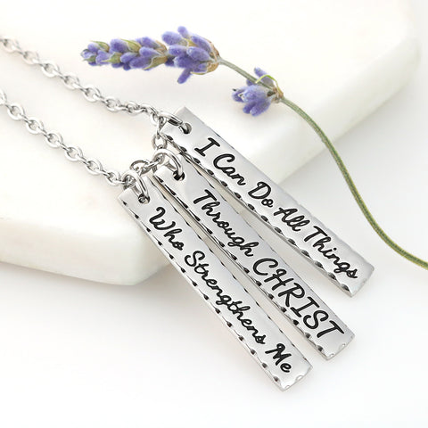 I Can Do All Things Through Christ Bar Necklace