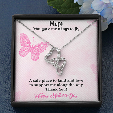 Mother's Day Wings to Fly Double Heart Necklace