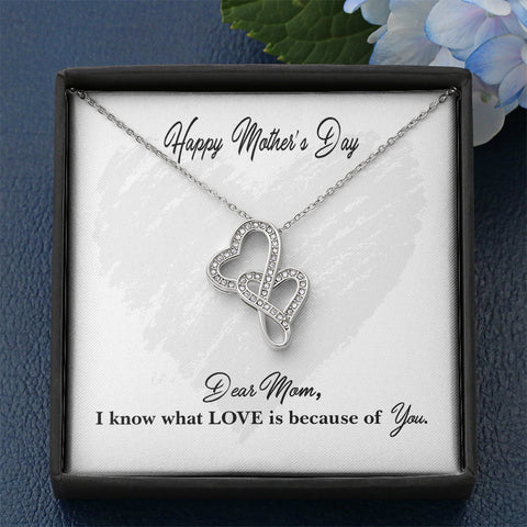 "Mother's Day Two Hearts ""I Know Love"" Necklace"