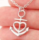 Graduate ANCHORED IN FAITH HOPE & LOVE Necklace Silver