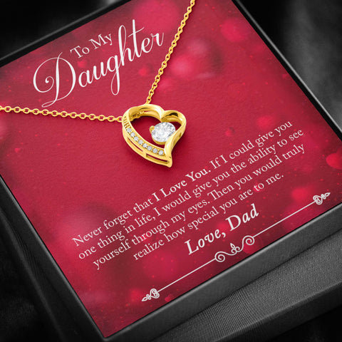 Valentines Dad to Daughter Heart Necklace