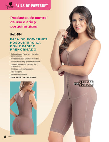 404 KNEE LENGTH BODY SHAPER POWERNET BODY SUIT (3 HOOK)