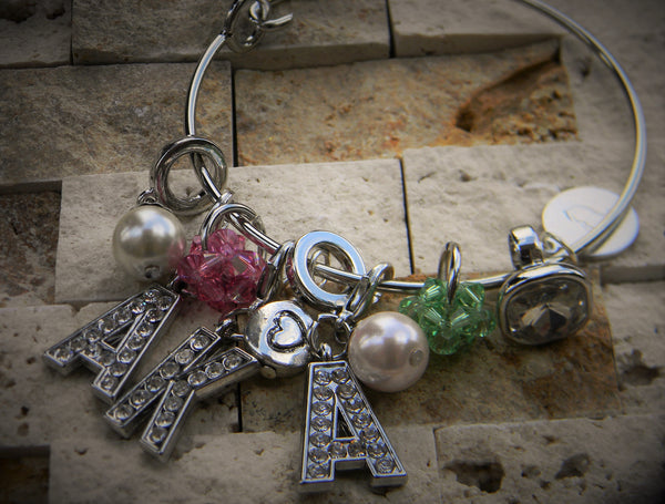 Crystal and Pearl Charm Bangle (Pink and Green)