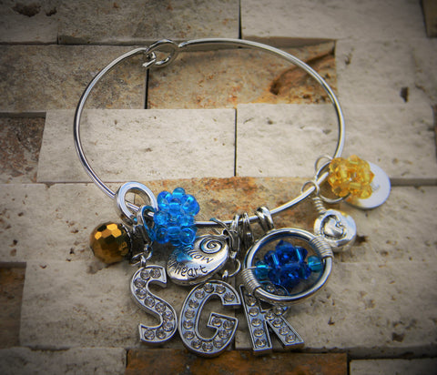 Crystal and Pearl Charm Bangle (Blue and Gold)