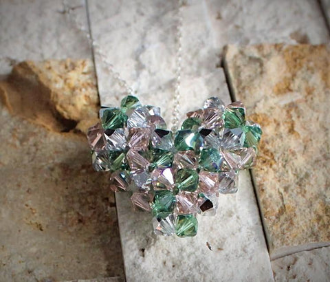 My Heart Crystal Pendant - Green Camo