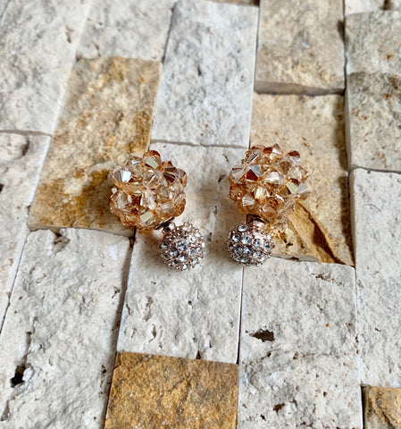 Light Smokey Topaz Crystal Ball Earrings