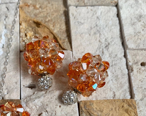 Pumpkin Spice Crystal Ball Earrings