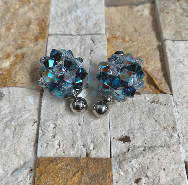 Blue Sky Crystal Ball Earrings