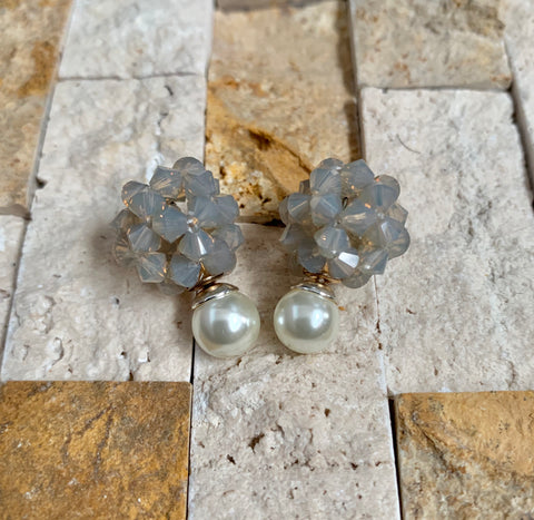 Sand Opal Crystal Ball Earrings