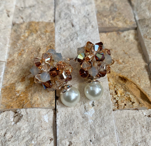 Mocca Latte Crystal Ball Earrings