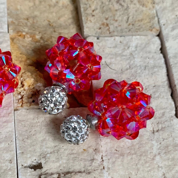 Pretty-N-Pink Crystal Ball Earrings