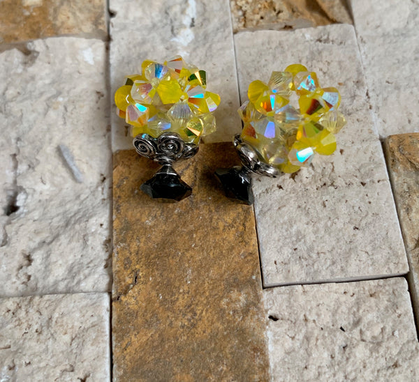 Yass Yellow Crystal Ball Earrings