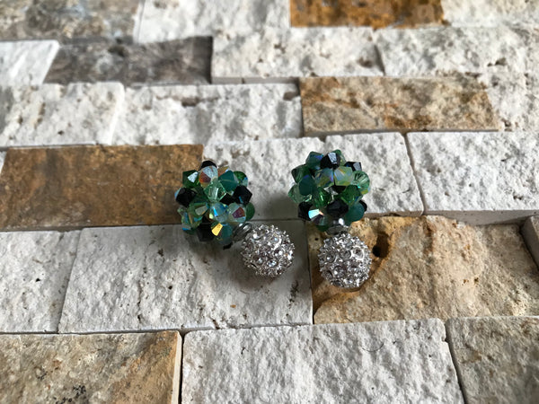 Green Ivy Crystal Ball Earrings