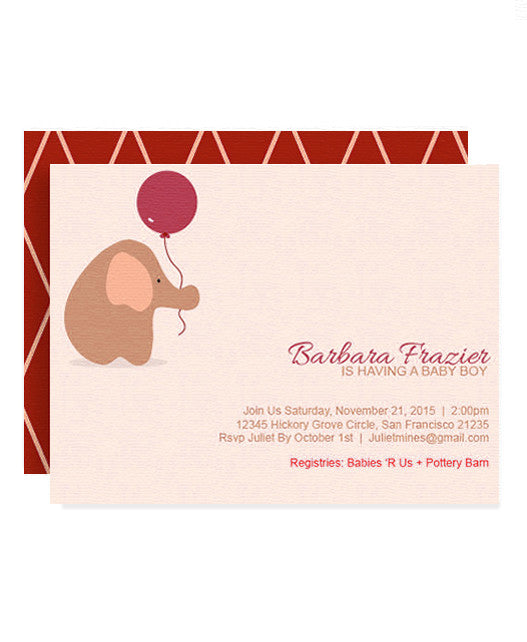 Elephant with Balloon Baby Shower Invitation