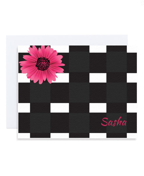 Checkerboard Flower Card