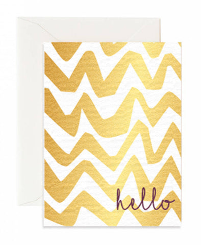 Golden Swirl Hello Card