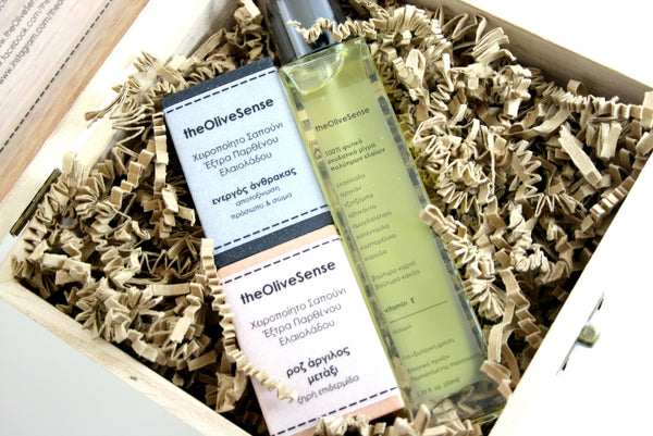 Medium giftbox with 2 soap bar 50gr &  1 Blend of precious oils 50ml