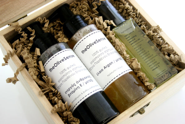 Medium giftbox with 2 liquid soap 100ml &  1 blend of precious oils 30ml