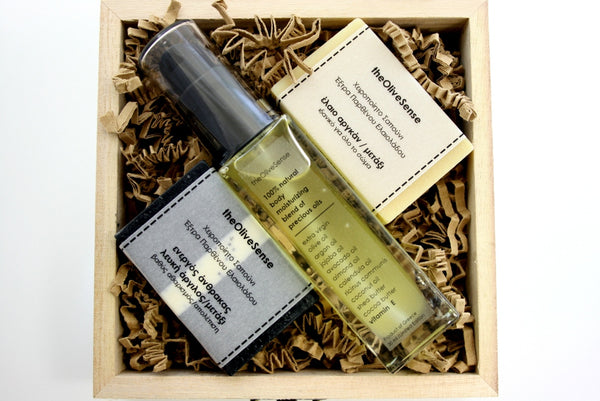 Small giftbox with 1 Blend of precious oils 30ml & 2 soaps of 25 gr
