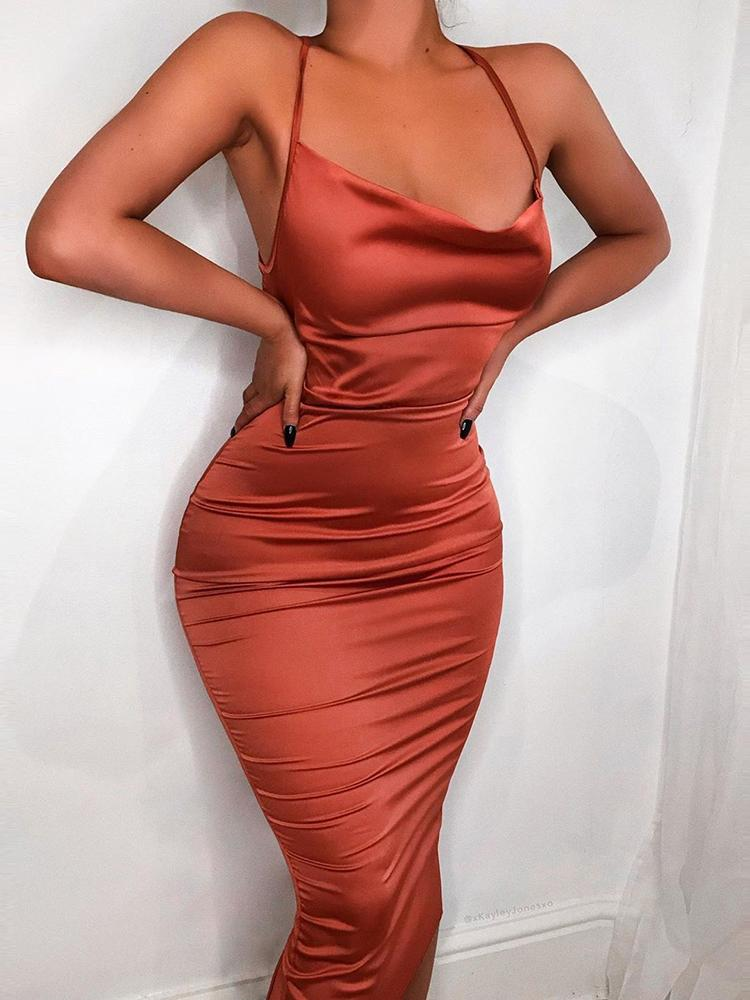 Summer Satin Draping neck bodycon