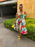 Summer puffy sleeve floral dress