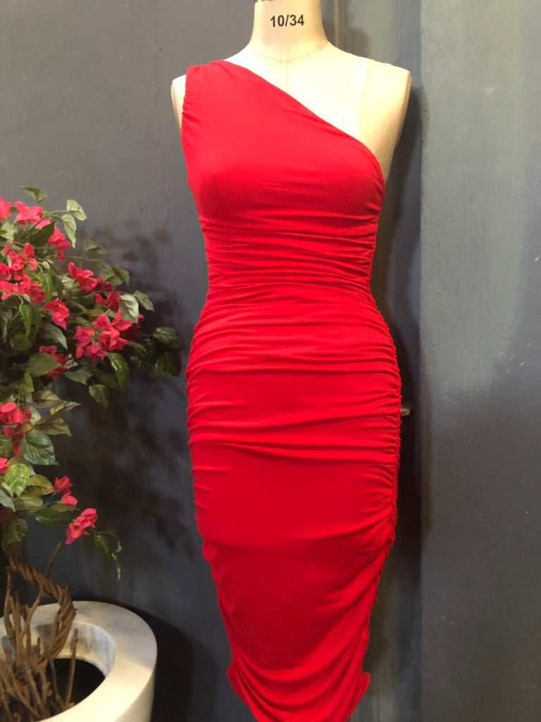 Sexy side ruched bodycon dress