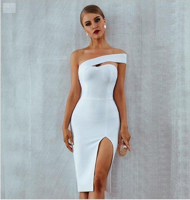 One sleeve bandage dress