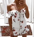 Sexy floral summer offshoulder dress
