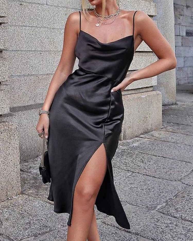 Melanie satin slit dress